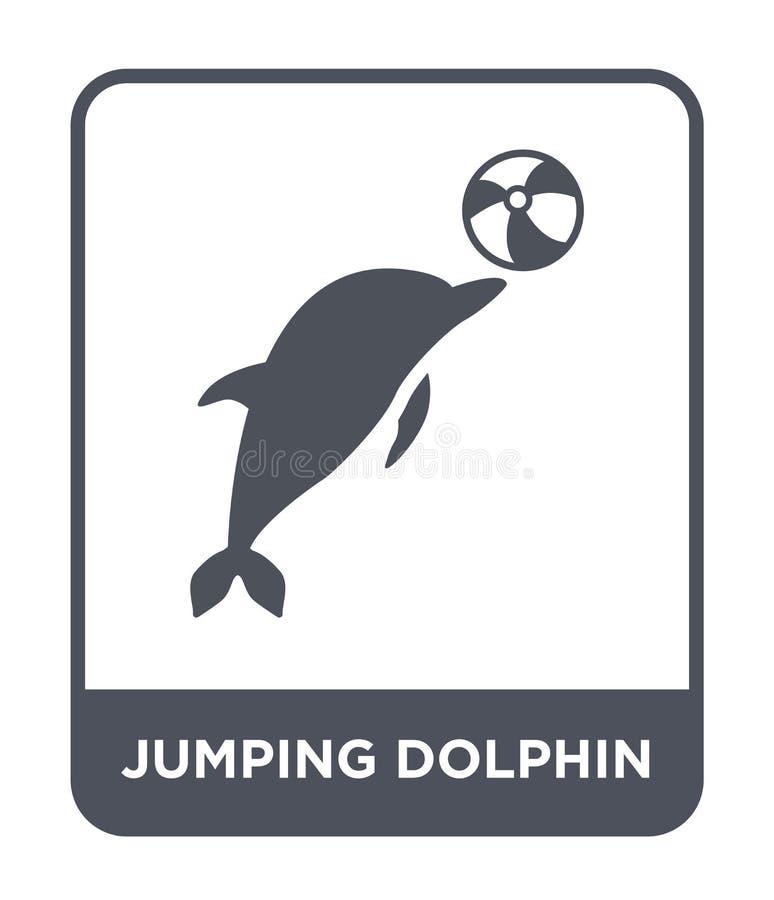 het springen van dolfijnpictogram in in ontwerpstijl springend dolfijnpictogram op witte achtergrond wordt geïsoleerd die springe vector illustratie