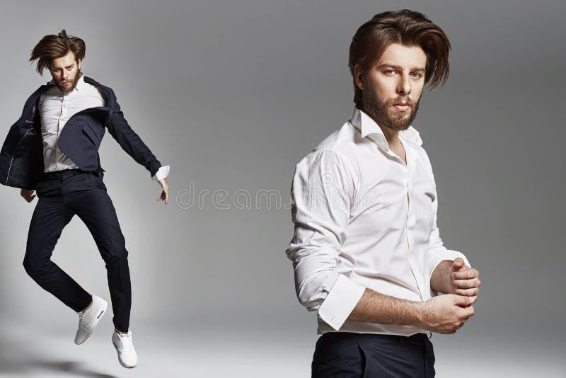 Het springen van flexibele kerel die kostuum dragen royalty-vrije stock afbeeldingen