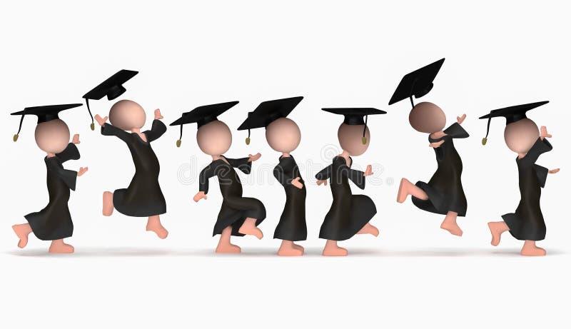 Het springen van gelukkige school cumloude stock foto