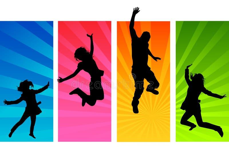 Het Springen van jonge Mensen royalty-vrije illustratie