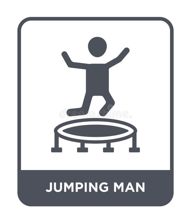 het springen van mensenpictogram in in ontwerpstijl springend mensenpictogram op witte achtergrond wordt geïsoleerd die springend royalty-vrije illustratie