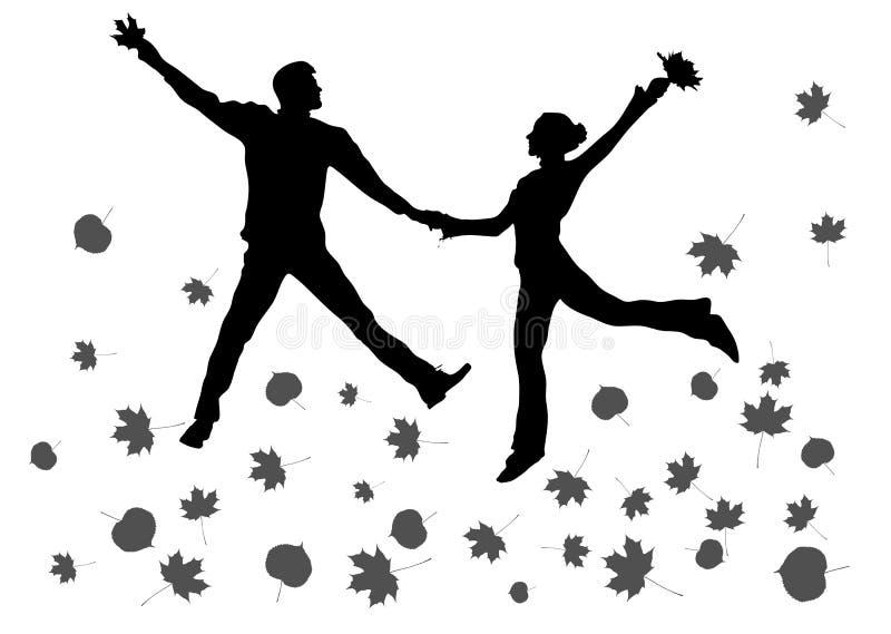 Het springen van paarsilhouet vector illustratie