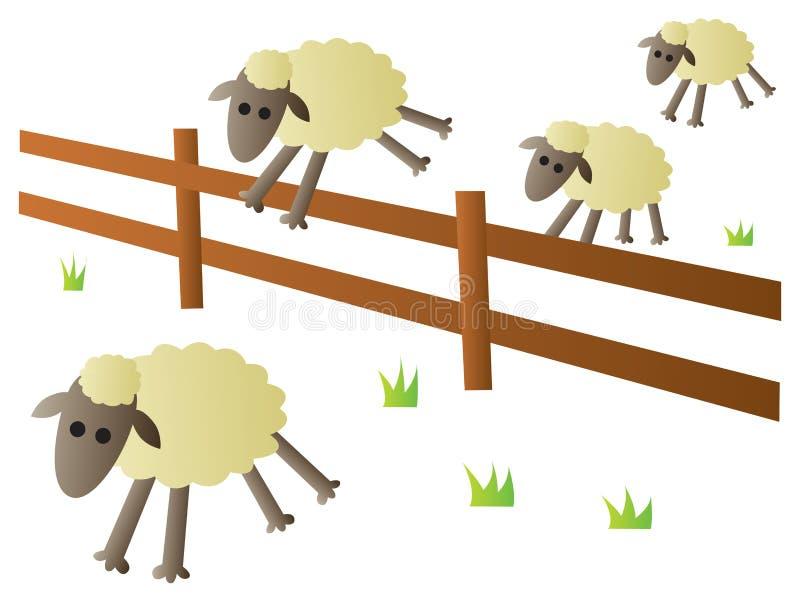 Het Springen van schapen Omheining vector illustratie