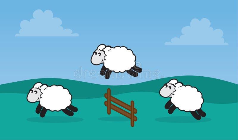 Het Springen van schapen Omheining op Gebied royalty-vrije illustratie