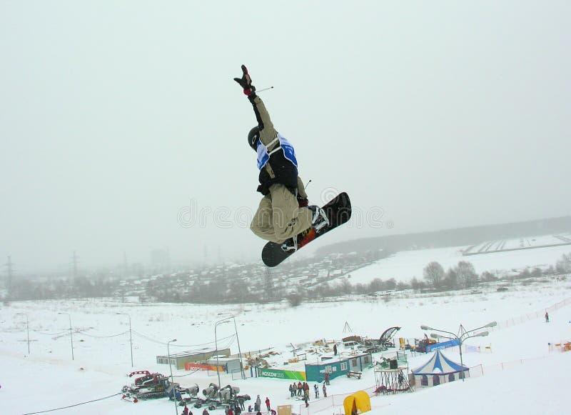 Het springen van Snowboarder royalty-vrije stock afbeelding