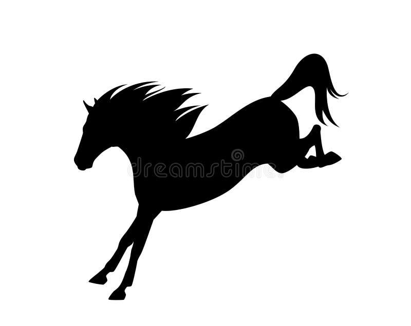 Het springende zwarte vectorsilhouet van het mustangpaard stock illustratie