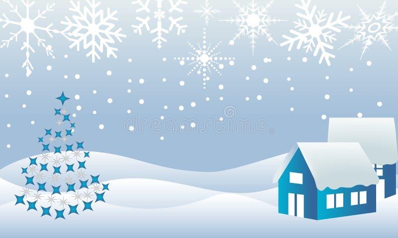 Het sprookjesland van de de stadswinter van Kerstmis stock illustratie