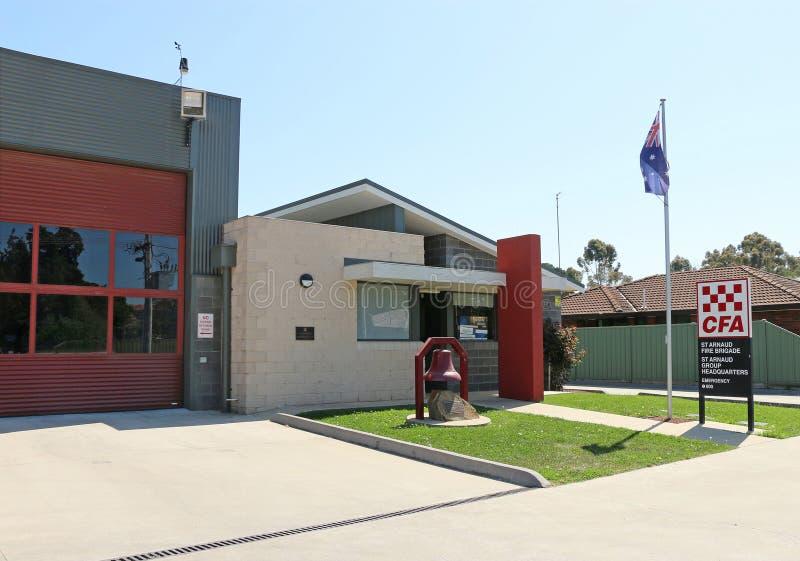 Het St Arnaud CFA Brandbrigade en groepshoofdkwartier, in het graafschap van Noordelijke Grampians, is gevestigde Alma Street, St stock foto's
