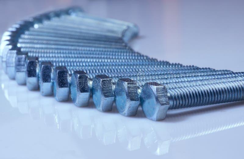 Het staal chromeplated bouten stock foto's