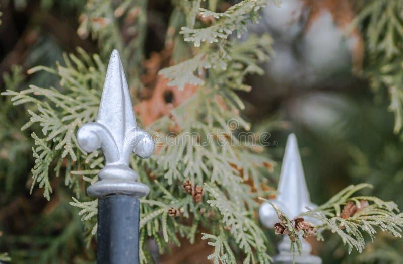 Het staal spijkert decoratief omheiningshuis vast royalty-vrije stock afbeeldingen