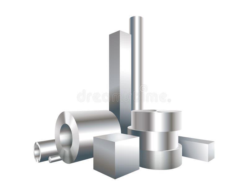 Het staalobjecten van het groeps verschillende metaal cirkel, vierkant, koker, pijp royalty-vrije illustratie