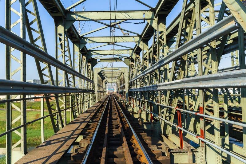 Het Staalstructuur van de treinbrug royalty-vrije stock afbeelding