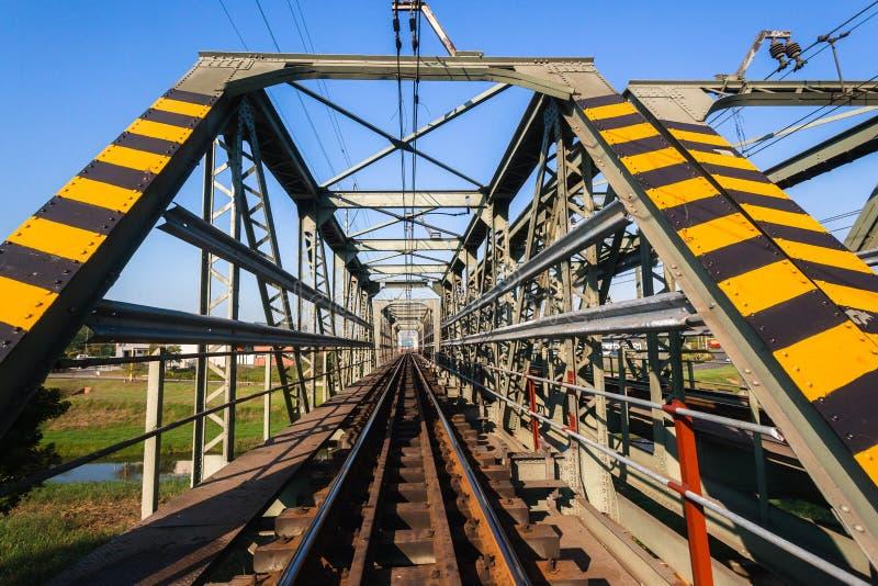 Het Staalstructuur van de treinbrug royalty-vrije stock foto