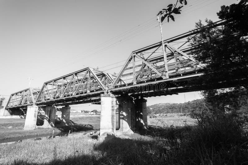Het Staalstructuur van treinbruggen stock foto