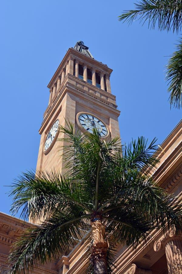Het Stadhuis & de Torendetail van Brisbane, Queenland Australië stock afbeeldingen