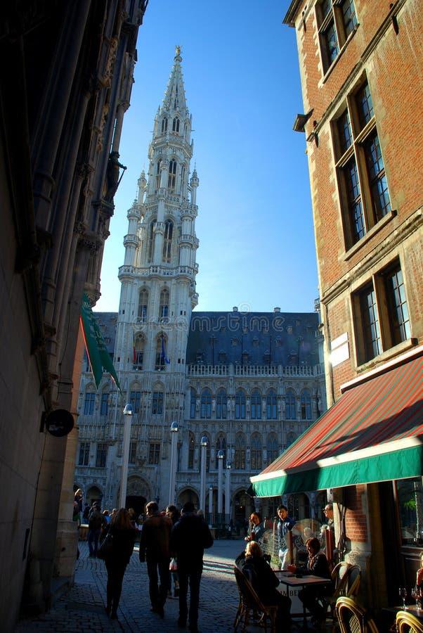 Het stadhuis in Grand Place. Brussel, België stock afbeelding