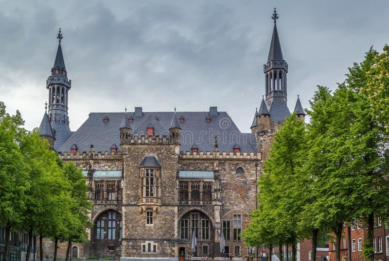 Het stadhuis van Aken Rathaus, Duitsland royalty-vrije stock fotografie