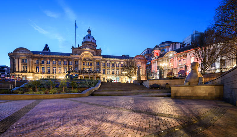 Het Stadhuis van Birmingham in Birmingham, Engeland stock afbeeldingen