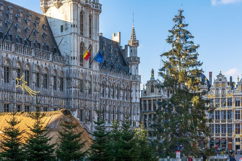 Het Stadhuis van Brussel met Kerstboom en markt vooraan royalty-vrije stock foto's