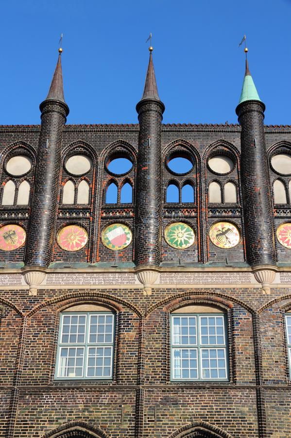 Het Stadhuis van Lübeck stock foto's