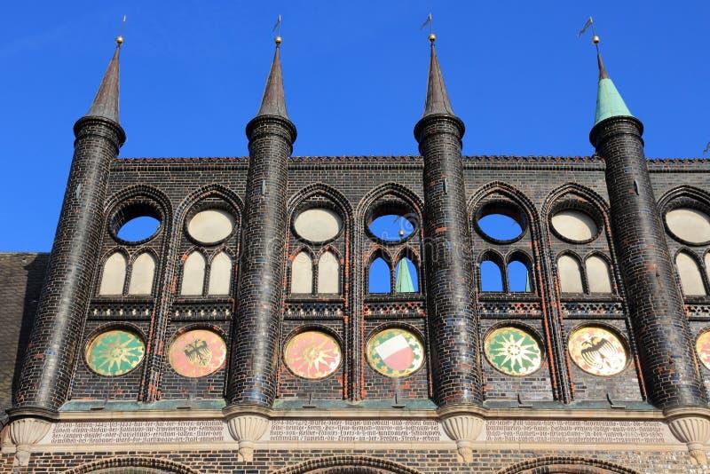 Het Stadhuis van Lübeck stock fotografie