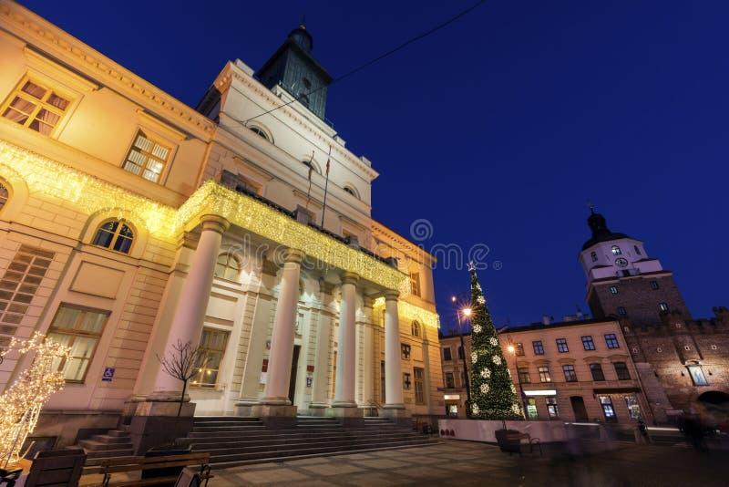 Het Stadhuis van Lublin en Krakowska-Poort royalty-vrije stock foto