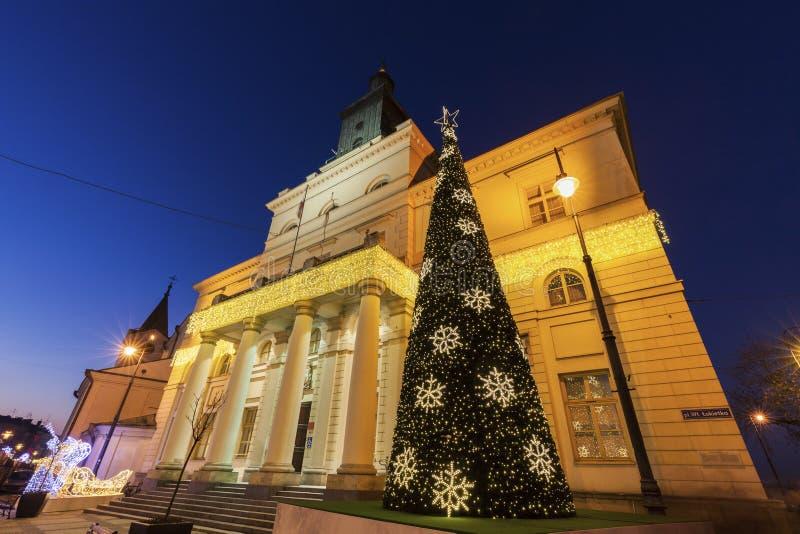 Het Stadhuis van Lublin tijdens Kerstmis stock afbeelding