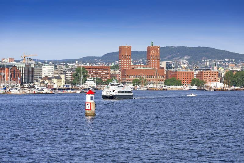 Het Stadhuis van Oslo stock foto's