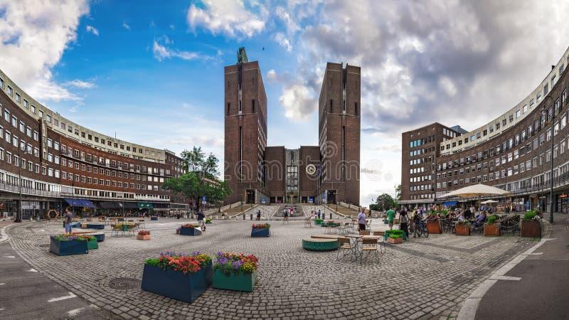 Het Stadhuis van Oslo in Oslo, Noorwegen royalty-vrije stock foto