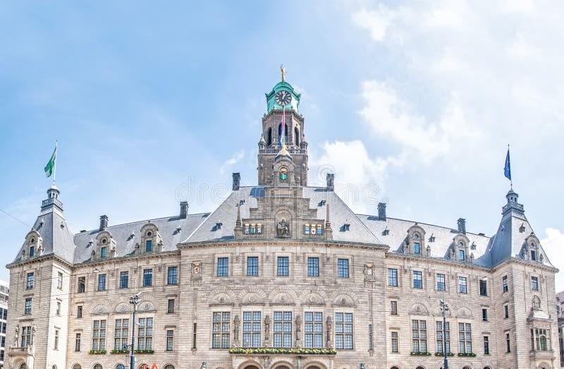Het Stadhuis van Rotterdam, Nederland in de Lente stock afbeelding