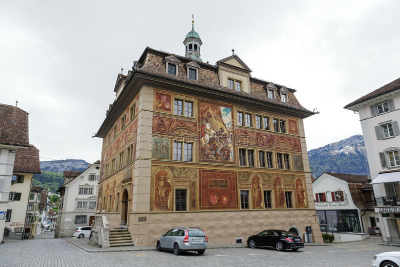 Het Stadhuis van Schwyz stock foto