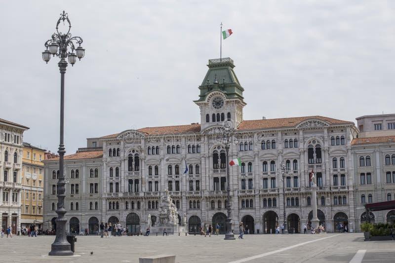 Het Stadhuis van Triëst bij Piazza UNITA D 'Italië in Italië royalty-vrije stock foto's