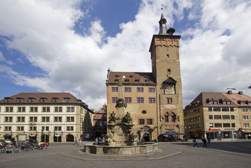 Het Stadhuis van Wurzburg, Duitsland stock afbeelding