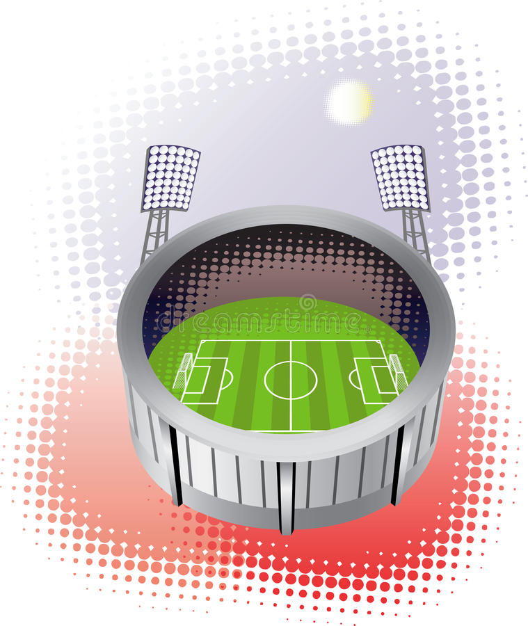 Het stadion van het voetbal van vogelmening. royalty-vrije illustratie