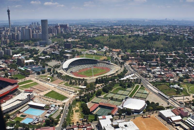 Het Stadion van Johannesburg - LuchtMening stock fotografie