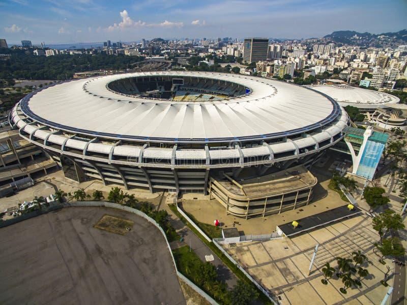 Het Stadion van Maracana Braziliaans Voetbal Voetbalstadions in de wereld Maracanastadion met muziekgebeurtenis stock foto