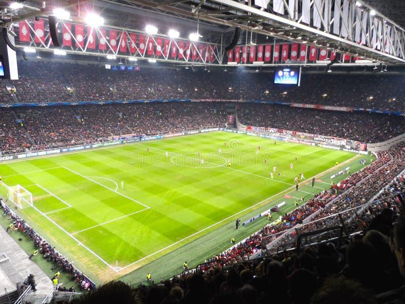 Het stadionarena van Amsterdam, de ligaatmosfeer van Kampioenen royalty-vrije stock foto