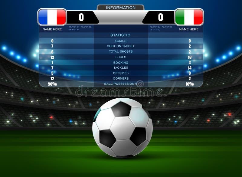 Het stadionschijnwerper en scorebord van de voetbalvoetbal royalty-vrije illustratie