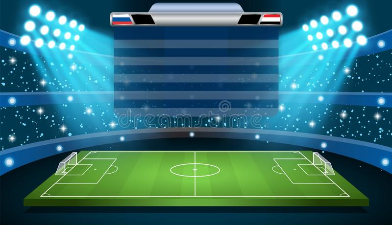 Het stadionschijnwerper van de voetbalvoetbal stock illustratie