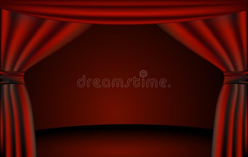 Het stadium van het theater, gordijnen royalty-vrije illustratie
