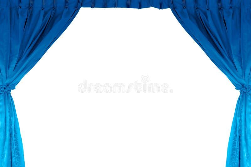 Het stadium van het theater met blauw gordijn stock foto
