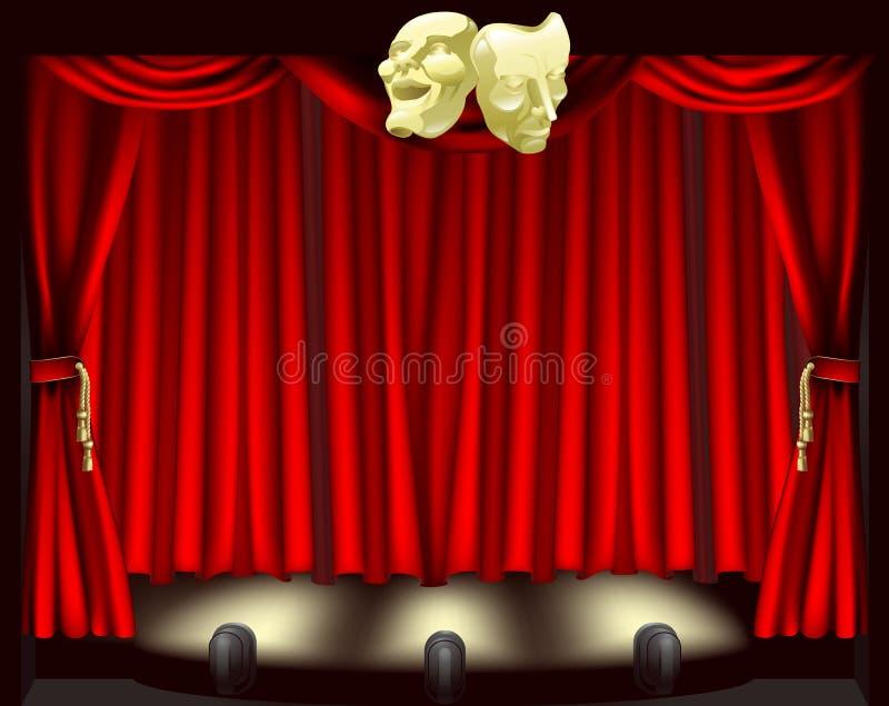 Het stadium van het theater met maskers royalty-vrije illustratie