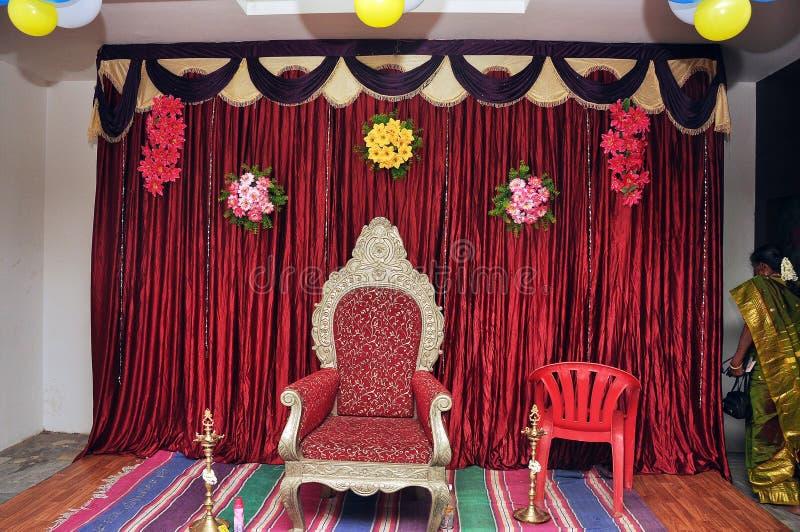 Het stadiumdecoratie van de huwelijkspartij stock foto's