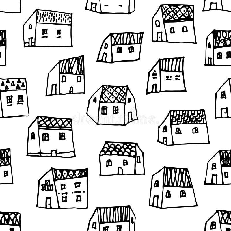Is het stads naadloze patroon in zwart-wit herhaalde textuur met hand getrokken huizen vector illustratie