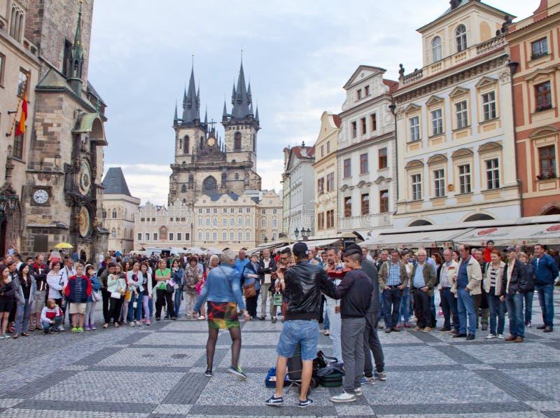 Het stadsleven binnen, Praag stock afbeeldingen