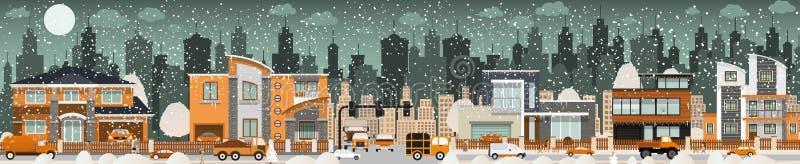 Het stadsleven (de Winter) stock illustratie