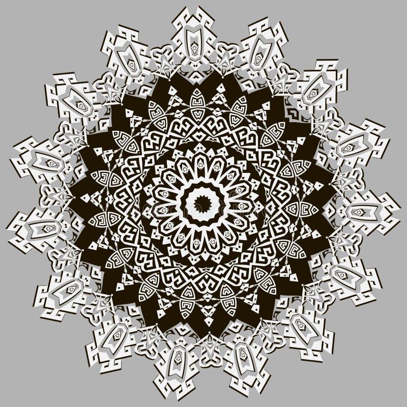 Het stammen etnische patroon van stijl geometrische Griekse vectormandala Moderne Sierachtergrond Uitstekend bloemenornament stock illustratie
