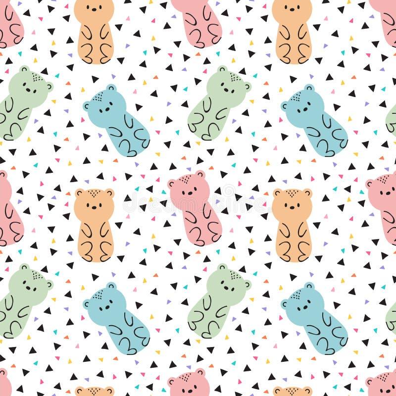 Het stammen naadloze patroon met leuke getrokken hand draagt De achtergrond van jonge geitjes Kinderachtige ontwerptextuur voor s vector illustratie