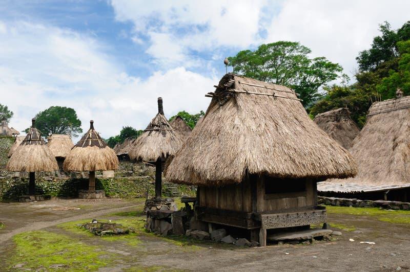 Het stammendorp van Indonesië stock foto's