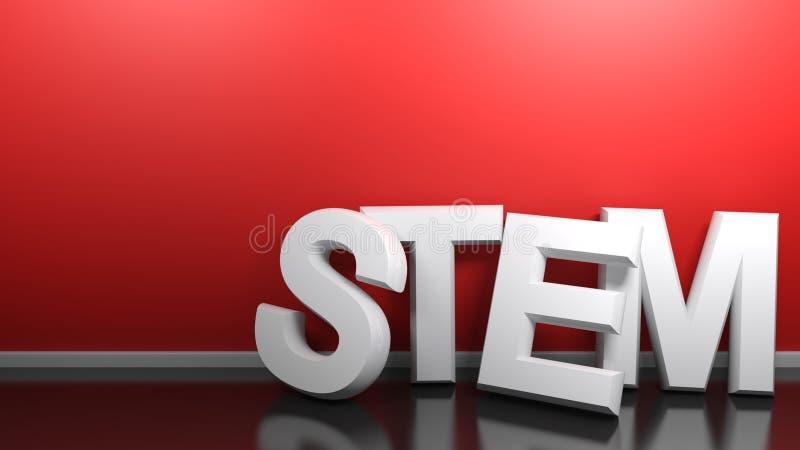 Het STAMwit schrijft bij rode muur - het 3D teruggeven vector illustratie